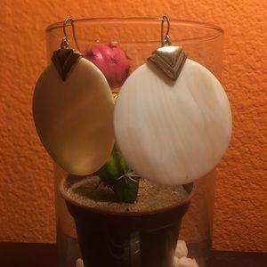 Ivory shell circle earrings
